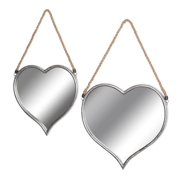 Set Of Two Heart Mirrors With Rope Detail - Style My Pad