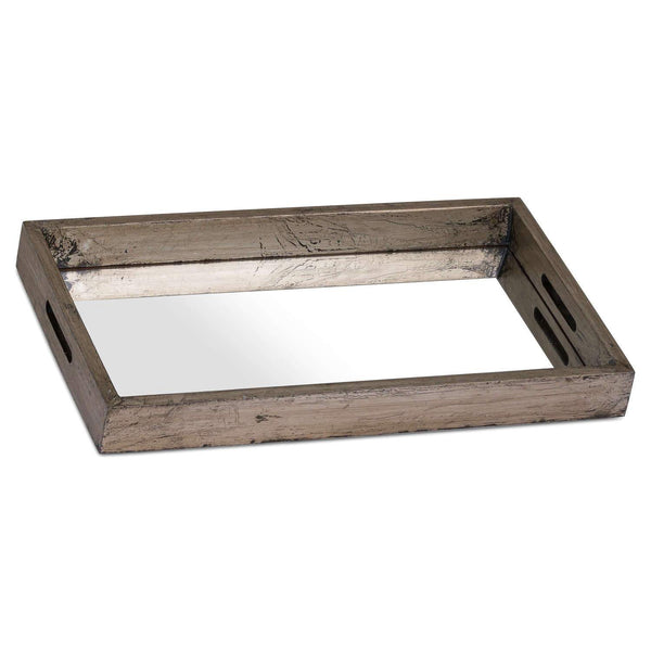 Augustus Mirrored Display Tray With Metallic Detail - Style My Pad