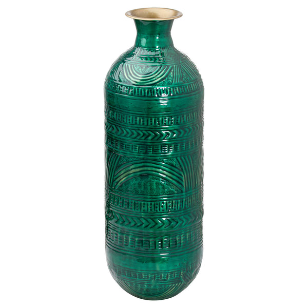 Aztec Collection Brass Embossed Ceramic Dipped Lebes Vase - Style My Pad