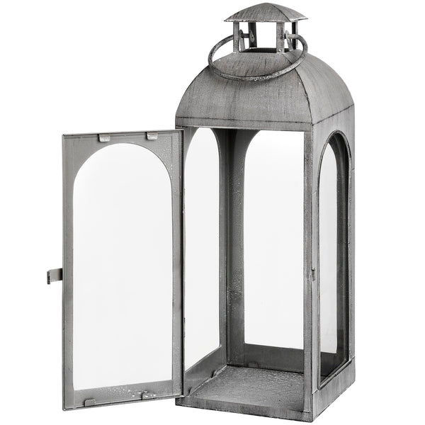Distressed Matte Grey Coach Lantern open - Style My Pad