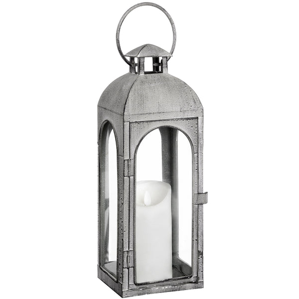 Distressed Matte Grey Coach Lantern - Style My Pad