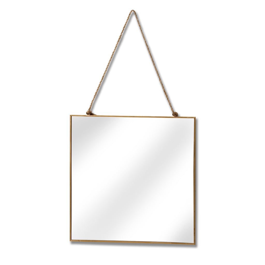 Gold Edged Square Hanging Wall Mirror - Style My Pad