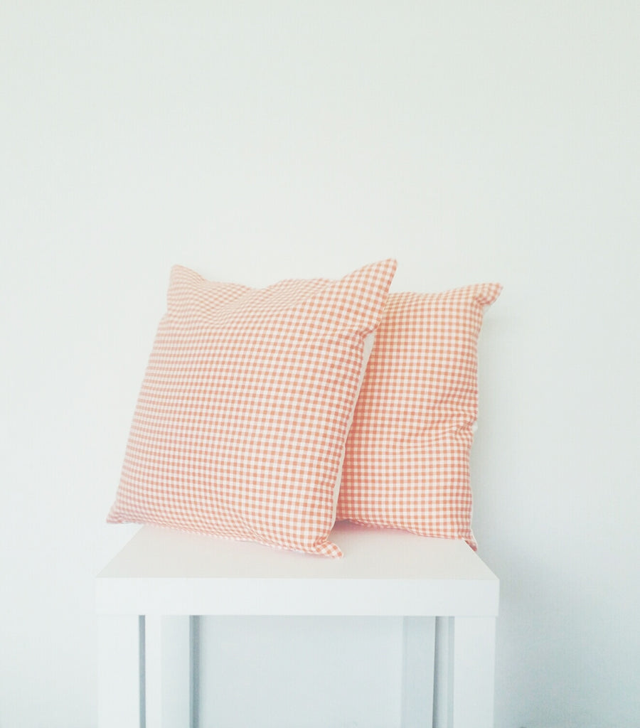 Orange Gingham Print Cushion Cover - Stylemypad