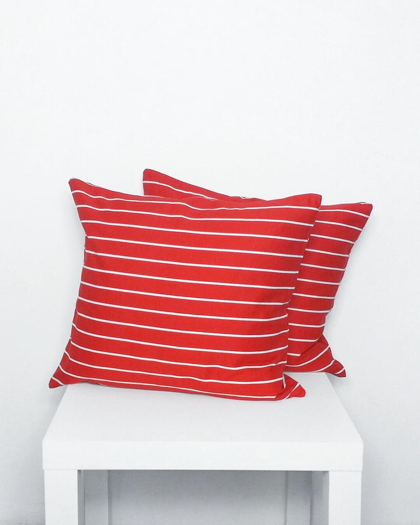 Red and White Striped Cushion Cover - Stylemypad