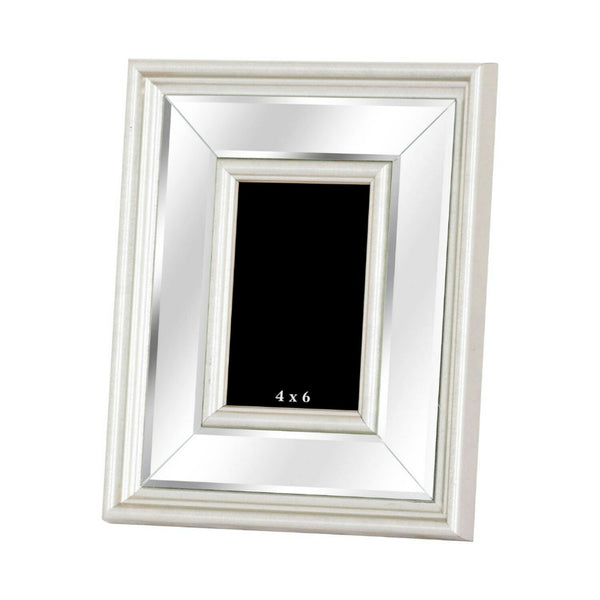 Large Silver Bevelled Mirrored Photo Frame 4X6 - Style My Pad