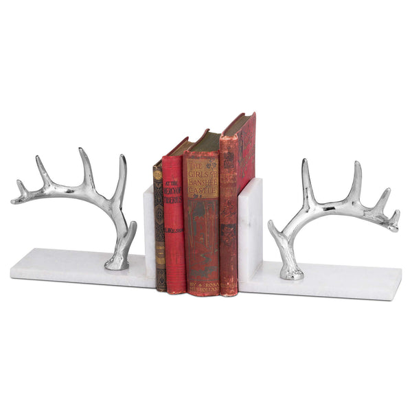 Nickel and Marble Antler Bookend - Style My Pad