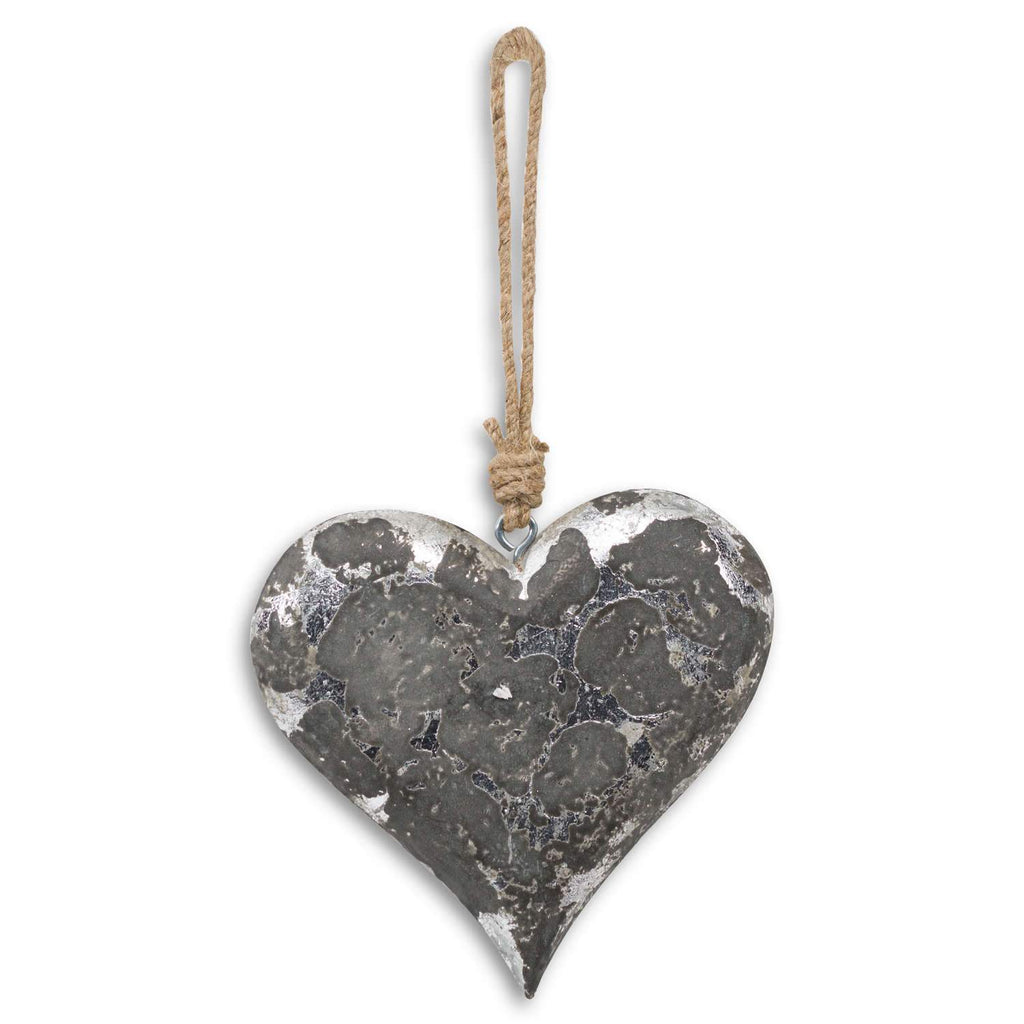 Mottled Black And Silver Heart Hanging Decoration - Style My Pad