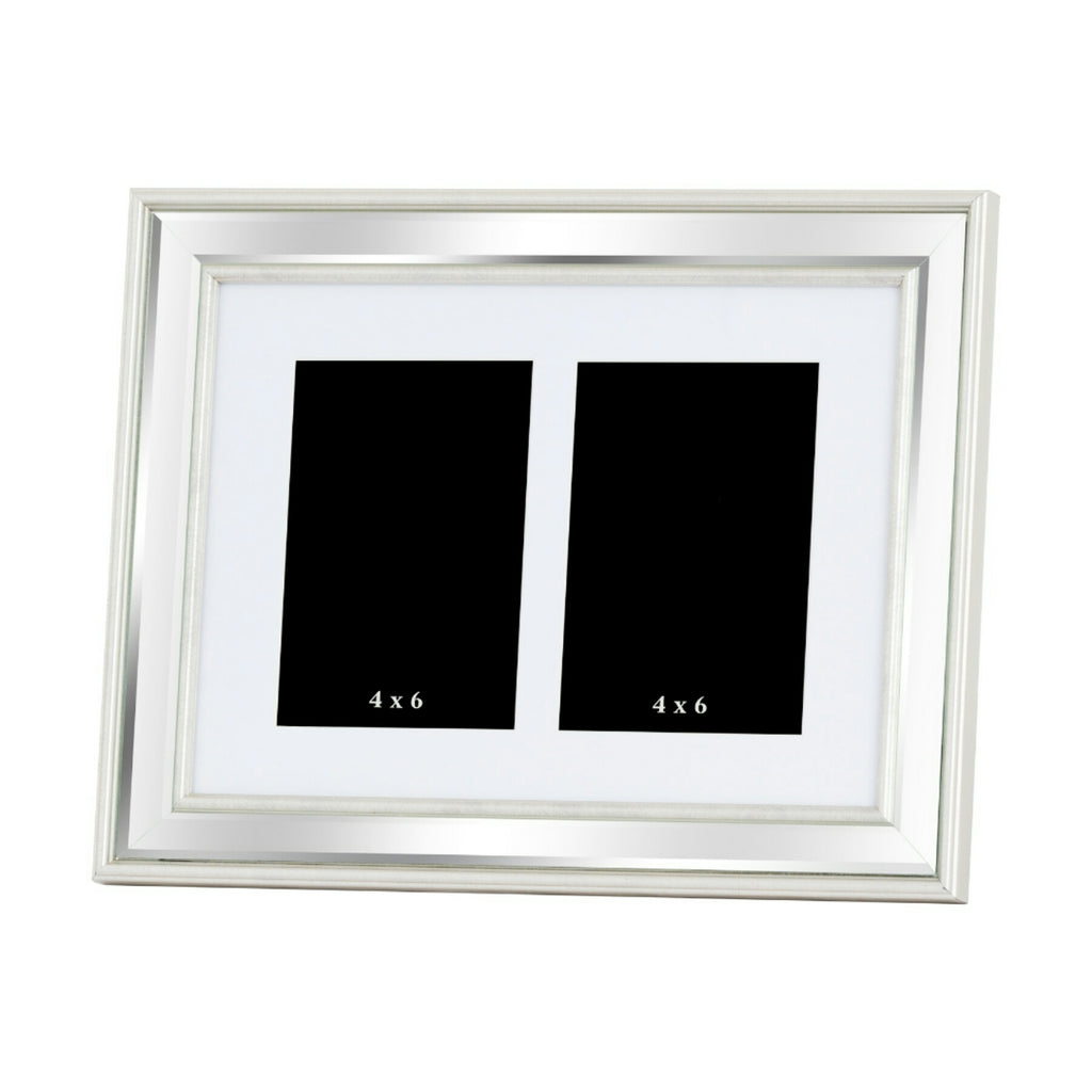 Silver Bevelled Mirrored Multi Photo Frame For 2 x 4X6