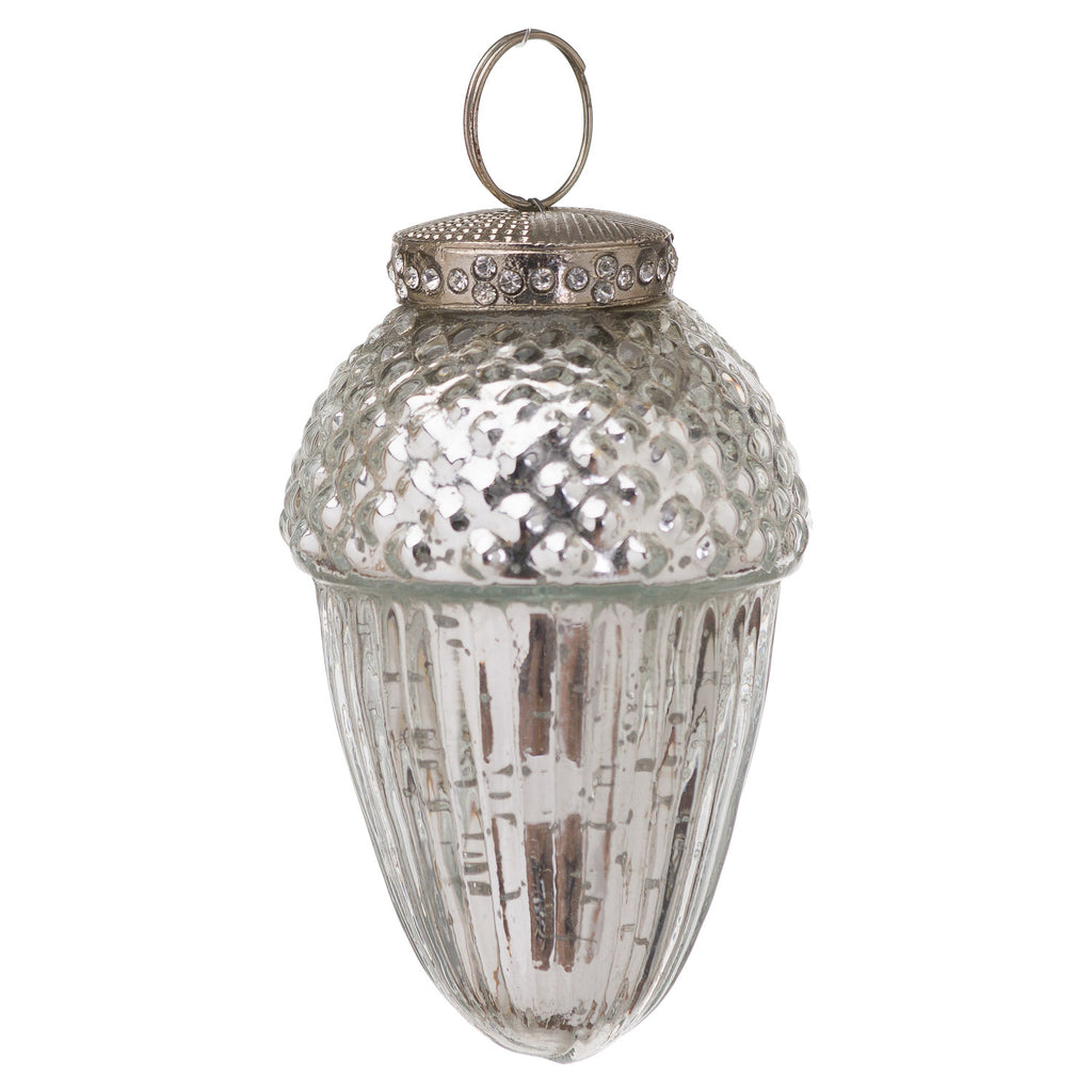 The Noel Collection Small Silver Hanging Acorn Decoration - Style My Pad