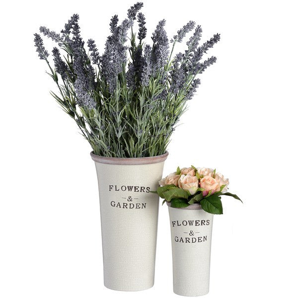 Set of Two Rustic Ceramic 'Flowers & Garden' Planters - Stylemypad