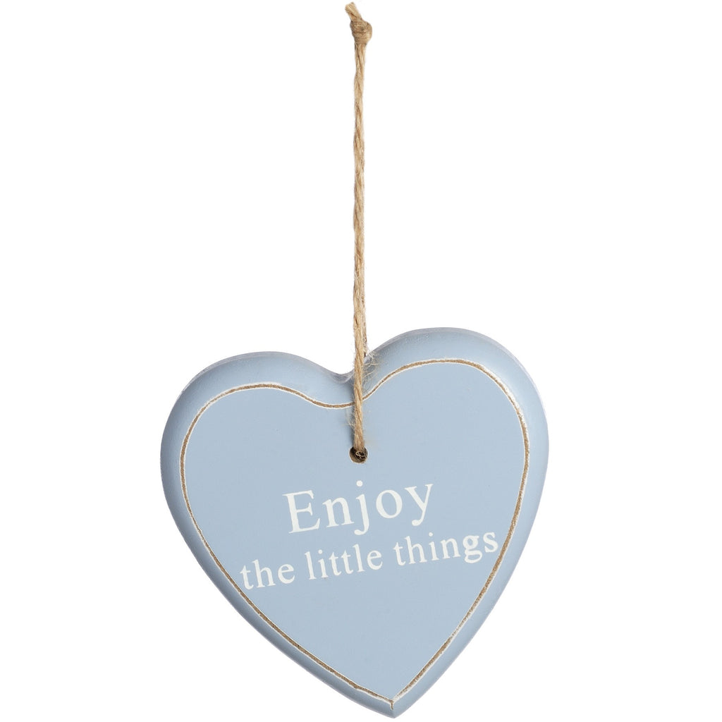 Wooden Hanging Heart 'Enjoy the Little Things' - Stylemypad