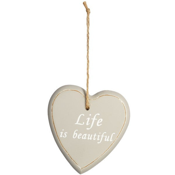 Wooden Hanging Heart 'Life is Beautiful' - Stylemypad