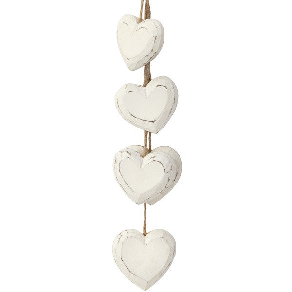 White Wooden Hanging Hearts - Stylemypad