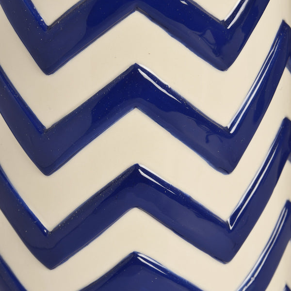 Royal Blue Zig Zag Ceramic Vase - Stylemypad