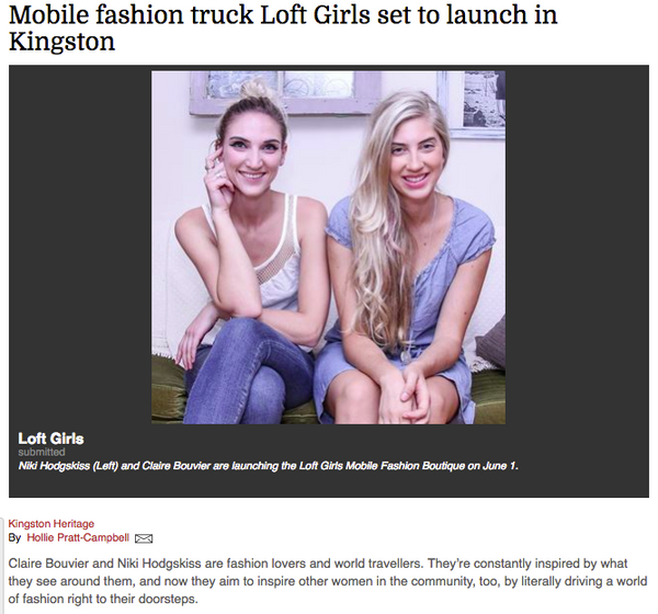 The Loft Girls Fashion Truck Press Coverage from kingstonregion.com