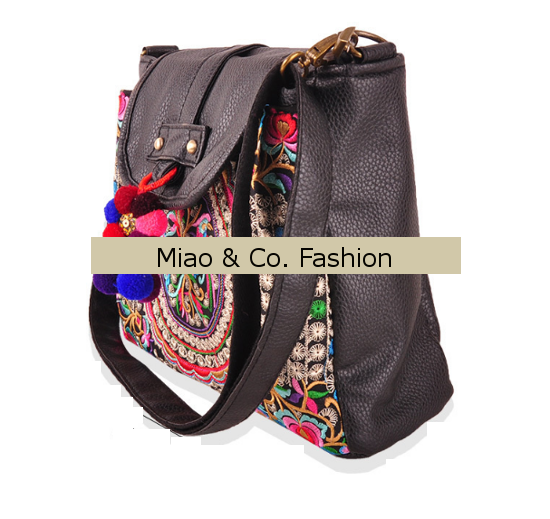 Ethnic Leather Messenger Bag With Colorful Pon Pon Fold Over