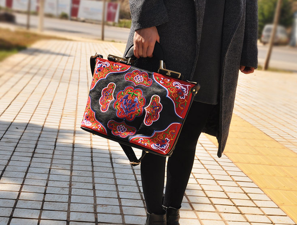 Unisex Leather Ethnic Embroidered Messenger Bag With Metal Accents - Miao + Co. - 1