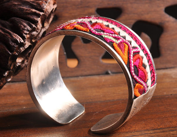 Traditional Color Tribal Pattern Silver Chunky Cuff - Miao + Co. - 1