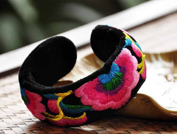 Bohemian Embroidered Ethnic Bangles - Miao + Co. - 1