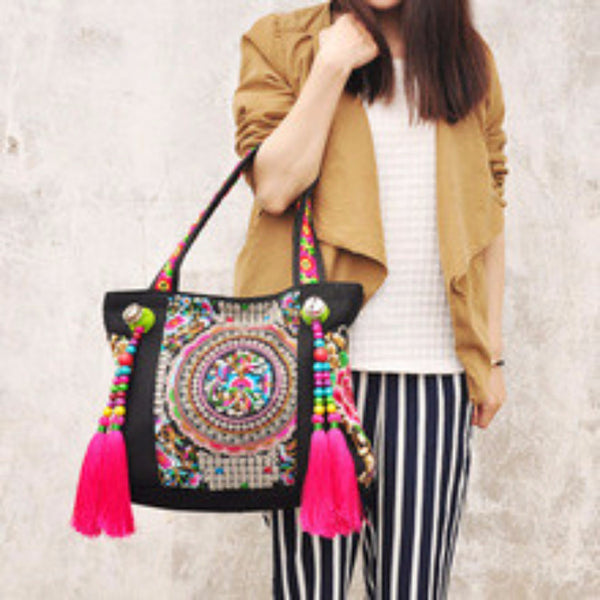 Large Bohemian Miao Tribal Patterned Shoulder Bag - Miao + Co. - 1