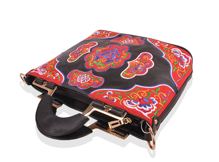Unisex Leather Ethnic Embroidered Messenger Bag With Metal Accents - Miao + Co. - 2