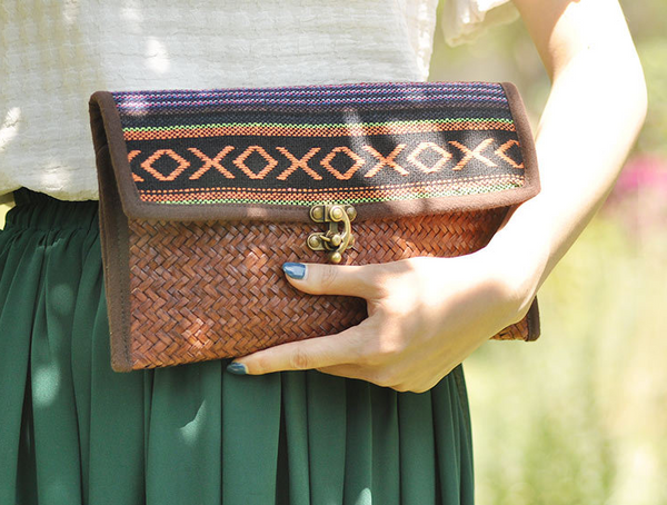 Beautiful Woven Bamboo Patterned Clutch With Metal Clasp - Miao + Co. - 1