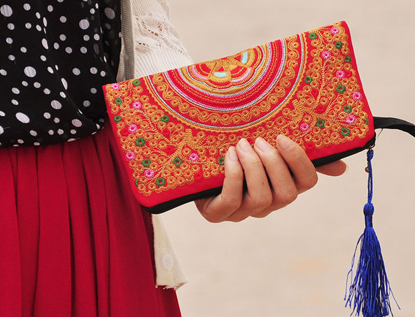 Stylish Multi Functional Hand Stitched Ethnic Clutch - Miao + Co. - 1