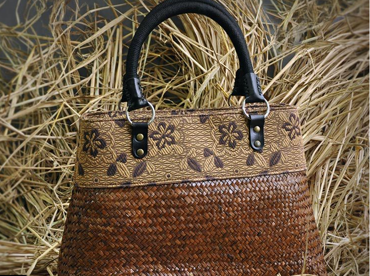 Muted Bamboo Tote With Woven Handles and Crisp Flower Accents - Miao + Co. - 2