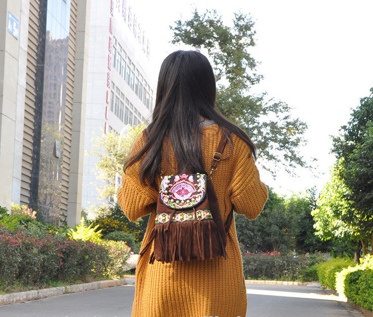 Bohemian Fringe Embroidered Suede Backpack - Miao + Co.