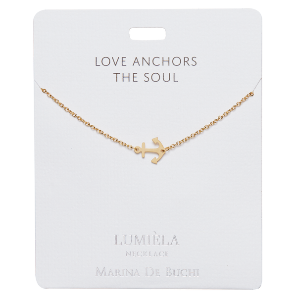 'Love Anchors the Soul' Gold Anchor Necklace
