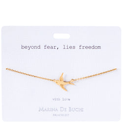 'Beyond Fear, Lies Freedom' Gold Plated Bracelet