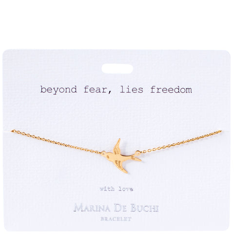 'Beyond Fear, Lies Freedom' Gold Plated Bracelet | Luxe Collection