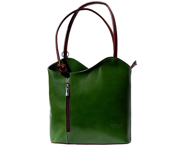 LaGaksta Easy Carry Italian Leather Convertible Backpack Shoulder Purse Medium