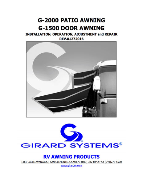 G-2000 Patio Awning & G-1500 Door Awning Manual