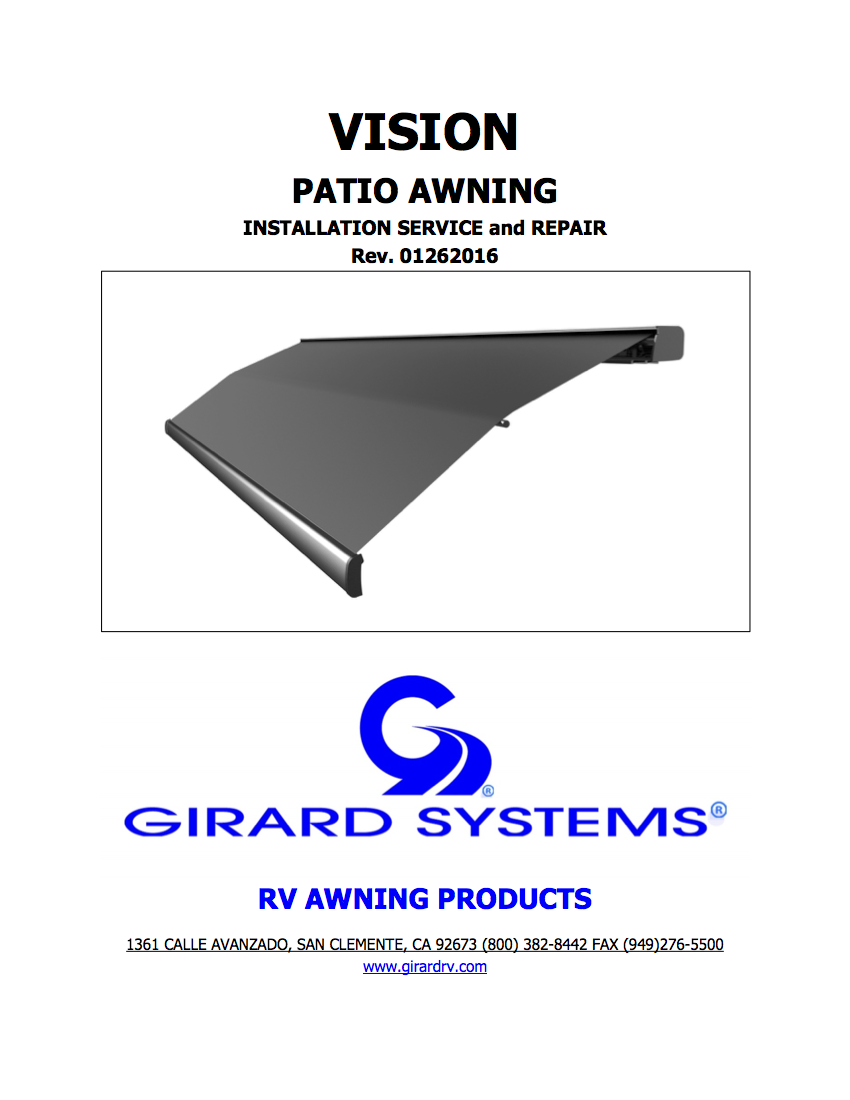 Vision Patio Awning Service & Repair Manual