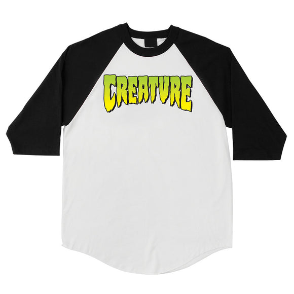 CREATURE LOGO 3/4 SLEEVE RAGLAN WHITE/BLACK