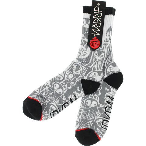 DARKROOM GRAYSCALE CREW SOCKS WHITE