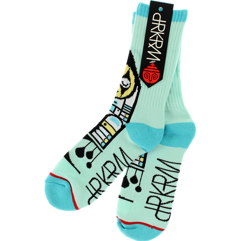 DARKROOM HARLEQUIN CREW SOCKS TEAL