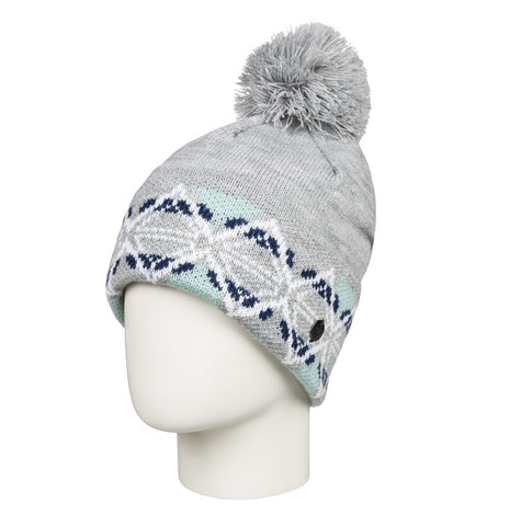 ROXY LIZZIE POM-POM BEANIE HEATHER GREY