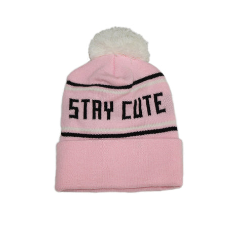 STAY CUTE PINK WHITE POM BEANIE