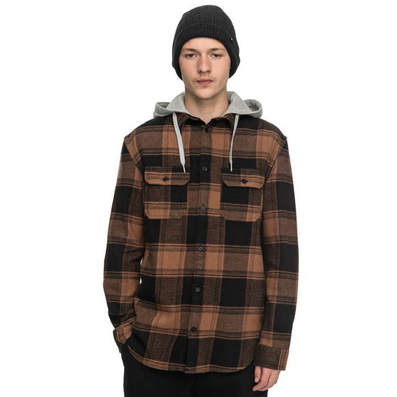 DC MEN'S RUNNEL FLANNEL LONG SLEEVE HOOD M