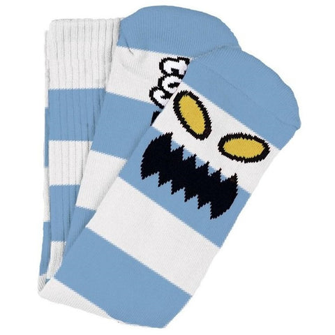 TOY MACHINE MONSTER BIG STRIPE SOCK LIGHT BLUE