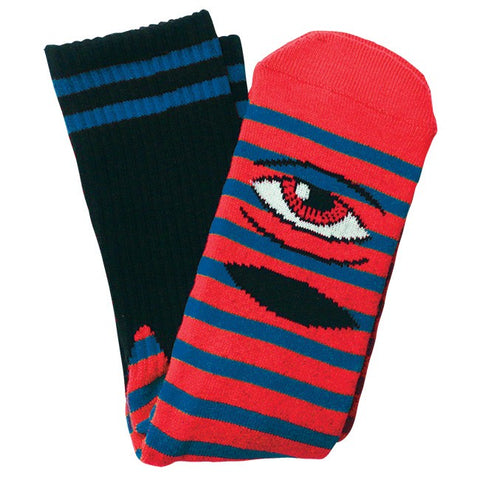 TOY MACHINE SECT EYE STRIPE SOCK RED/BLUE