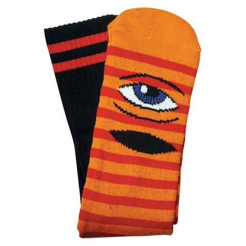 TOY MACHINE SECT EYE STRIPE SOCK ORANGE/RED