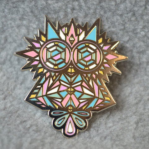 METAL CRYSTAL OWL PIN