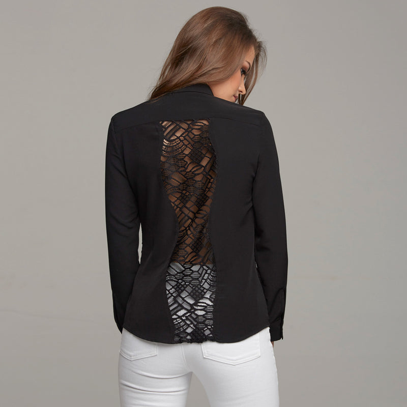 NELLIE CONTRAST WAVY LACE INSERT BLACK - CT027