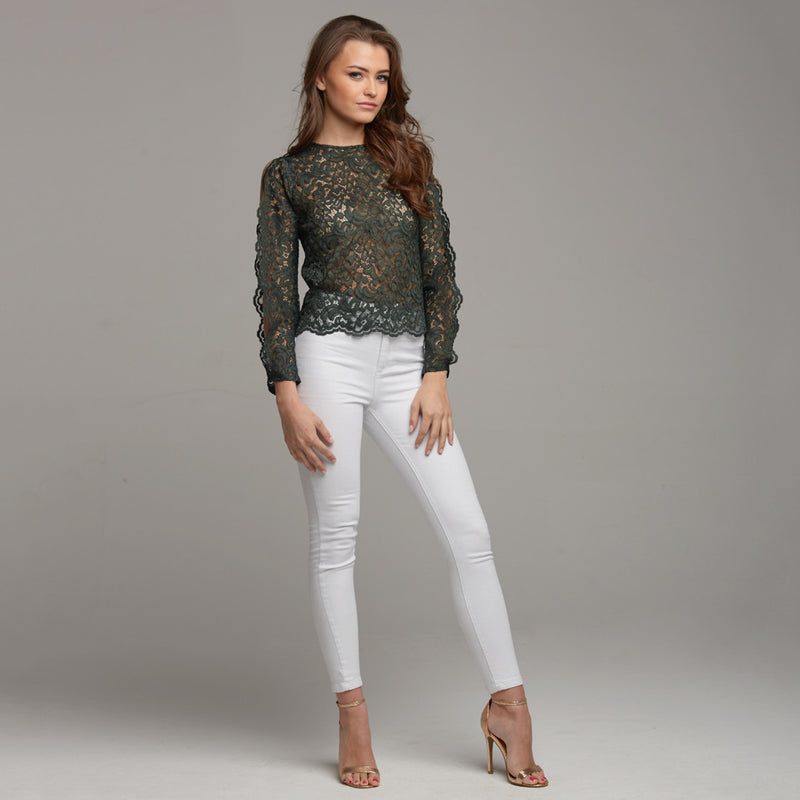 ISABELLA GREEN LACE WITH SPLIT SLEEVE DETAIL - CT039