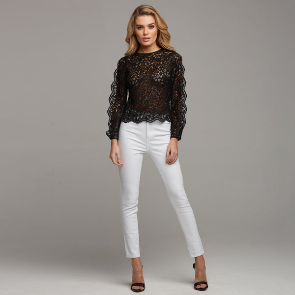 ISABELLA BLACK LACE WITH SPLIT SLEEVE DETAIL - CT038