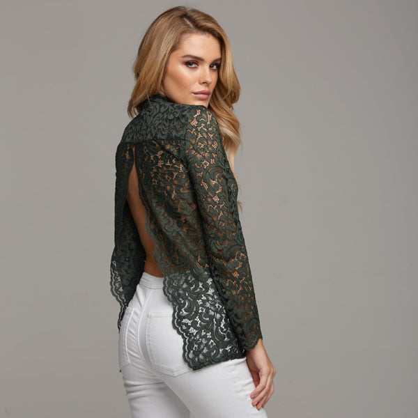 EVIE GREEN LACE OPEN BACK - CT032