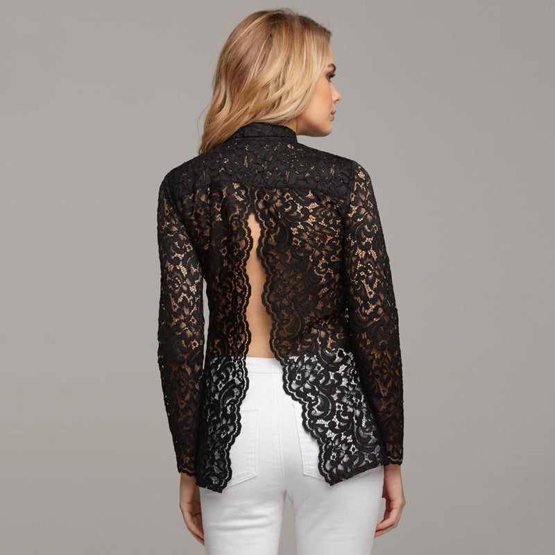 EVIE LACE BLACK OPEN BACK - CT033